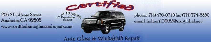 Logo, Certified Auto Glass & Windshield Repair, Glass Repair in Anaheim, CA